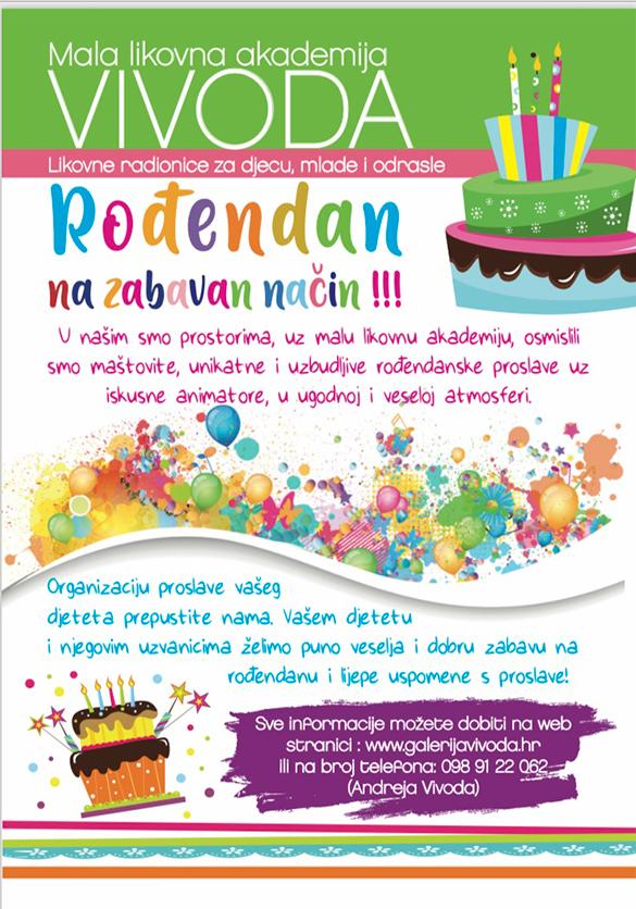 Proslava rođendana na zabavan i kreativan način u prostorima male likovne akademije Vivoda